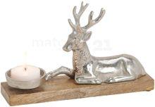 Kerzenhalter liegender Hirsch für 1 Kerze aus Metall & Holz silber / braun 30 cm