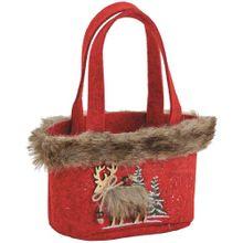 Tasche Filztasche Elch Filz rot & Kunstfell Weihnachten für Geschenke 17x12 cm