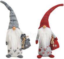 Weihnachtswichtel mit Herz Dekofiguren Weihnachtsdeko rot & grau 2er Set je 30 cm 001