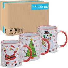 Tassen Weihnachtstassen Keramik Nikolaus / Schneemann / Baum 36 Stk 300 ml
