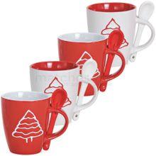 Tassen Weihnachtstassen mit Löffel - Tannenbaum Keramik rot / weiß 4er Set 170 ml
