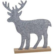 Filzdeko Hirsch auf Holzsockel Weihnachtsdeko Winterdeko Filz Figur 1 Stk 42 cm