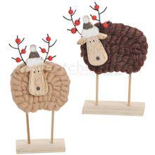Rentier Weihnachtsdeko Holz & Wolle / Mützen & Perlen 2er Set beige / braun 21 cm