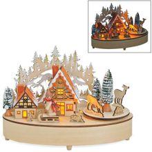 Weihnachtsszene Winterszene Dorf aus Holz mit Musik & Beleuchtung 21x11x15 cm