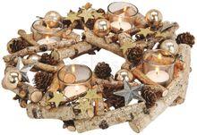 Adventskranz Birkenholz & Glas-Teelichthalter Deko mit Zapfen & Sternen Ø 30 cm