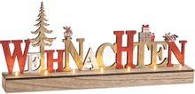 3D Holz Schriftzug WEIHNACHTEN mit LEDs Deko Buchstaben zum Stellen 46x18 cm
