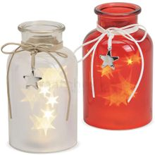 LED Dekoleuchten & Sternanhänger Glasflaschen 20 LEDs rot & weiß 2er Set