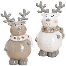 Rentiere Dekofiguren Weihnachtsdeko Keramikfiguren beige & weiß 2er Set 13 cm