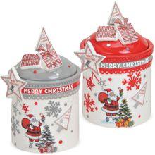 Keksdosen Keramikdosen Plätzchendosen Merry Christmas Keramik 2er Set sort 17 cm
