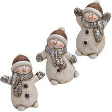 Dekofiguren Schneemann Weihnachtsdeko Ton Figuren Winterdeko 3er Set je 6 cm