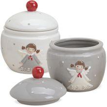 Keksdosen Engel Keramikdosen Plätzchendosen Keramik weiß & grau 2er Set 12 cm