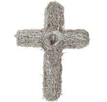 Kreuz aus Rattan zum Bepflanzen als Grabschmuck weiß gekalkt – 37x27 cm
