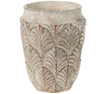 Vase Zement Blätter Relief Blumentopf Pflanzgefäß Zementvase – Ø 14x18 cm