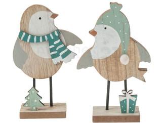 Holz Deko Vögel Winterdeko Holzfiguren Weihnachtsdeko 2er Set sort 9,5x15 cm