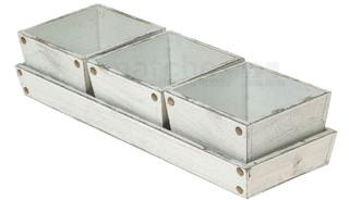 Holz Pflanztöpfe 3er Set & Tablett 4-tlg Vintage-Look weiß foliert je 14x14 cm