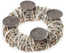 Rustikaler Adventskranz Reben gebündelt Wolle & Perlen & Kerzenhalter Ø 30 cm