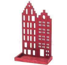 Häuserfront Skyline Windlicht Teelichthalter Kerzenhalter rot Holzdeko 17x29 cm