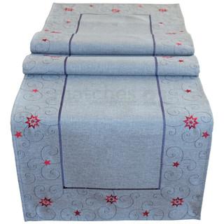 Mitteldecke Tischläufer Sterne Weihnachten hellgrau Stick grau / rot 40x175 cm
