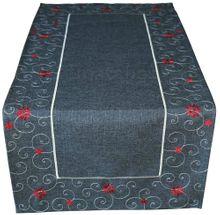 Tischläufer Sterne & Schnörkel Weihnachten dunkelgrau Stick weiß / rot 40x85 cm