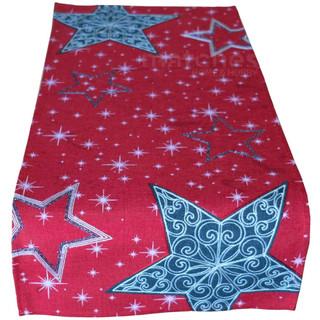 Tischläufer Weihnachten Sternen-Zauber rot Stick weiß / dunkelgrau 40x85 cm