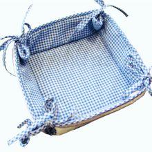 Brotkorb Stoff Landhaus blau weiß kariert & Herz Brot Korb Binden 35x35 cm