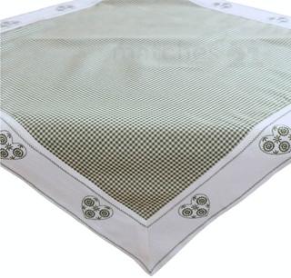 Tischdecke Mitteldecke Tischwäsche Landhaus grün weiß kariert & Herz 85x85 cm
