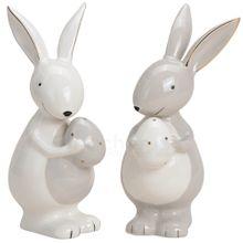 Goldige Osterhasen mit Ei Dekofigur Ostern Frühling weiß gold 2er Set sort 16 cm