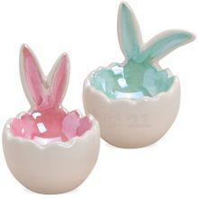 Eierbecher mit Hasenohren hochglänzend Keramik rosa & hellblau 2er Set sort 7 cm 001