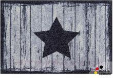 Fußmatte Fußabstreifer FLAT Stern & Holz dunkel grau 44x67 cm Textil waschbar