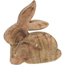Osterhase Hase sitzend Holz mit Schleife Osterdeko Frühling Holzfigur 1 Stk 20 cm