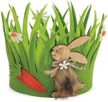 Osterkorb Osternest Korb Filz grün mit Hase & Karotte Dekor Ostern Eier 16x13 cm