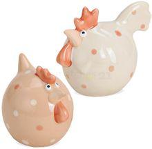 Henne & Hahn Ostern Dekofigur Keramik pastell orange & beige 2er Set je 8x7 cm