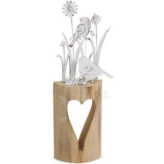Vögel & Blumen Metall geweißt auf Holzstamm mit Herz In- & Outdoor 11x30 cm