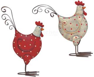 Hennen Hühner Dekofiguren Metall Ostern Frühling Figur weiß & rot 2er Set 16 cm