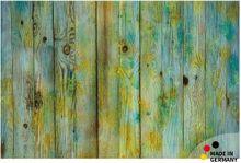 Fußmatte Fußabstreifer FLAT Holzbretter Vintage blau gelb 44x67 cm Textil waschbar