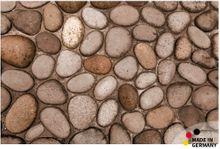 Fußmatte Fußabstreifer FLAT Steine braun / Kieselsteine 44x67 cm Textil waschbar