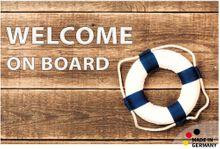 Fußmatte Fußabstreifer FLAT Holz & Welcome on Board 44x67 cm Textil waschbar