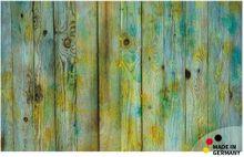 Fußmatte Fußabstreifer FLAT Holzbretter Vintage blau gelb 50x80 cm Textil waschbar