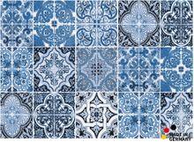 Fußmatte Abstreifer Schmutzfangmatte Retro Muster Kacheln blau 50x70 cm waschbar