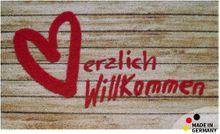 Fußmatte Abstreifer Schmutzfangmatte Willkommen & Holzbrettern 65x110 cm waschbar