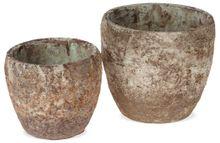 Pflanztöpfe Keramik Pflanzgefäße Rostoptik Antikoptik konisch – 2 Größen