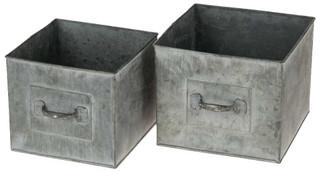 Zink Schubladen quadratisch Pflanzgefäße Pflanzkisten & Griff 2er Set 16 & 18 cm