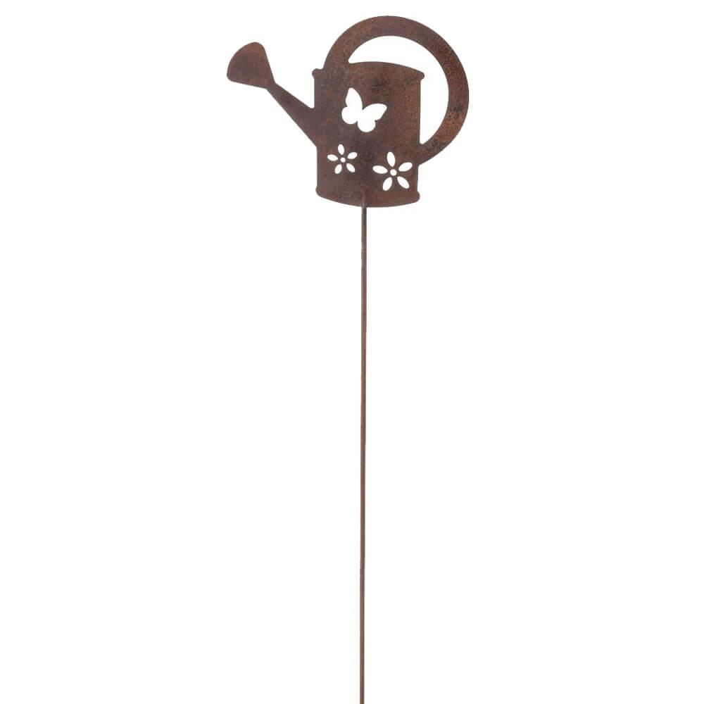 Blumenstecker gie kanne metallstecker rostoptik gartendeko for Gartendeko rostoptik