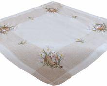 Tischdecke Tischwäsche Osterhasen Leinenoptik beige / weiß 85x85 cm