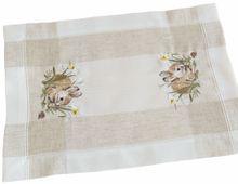 Tischläufer Tischwäsche Osterhasen Leinenoptik beige / weiß 35x50 cm
