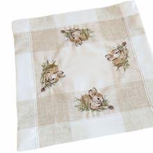 Tischdecke Tischwäsche Osterhasen Leinenoptik beige / weiß 35x35 cm