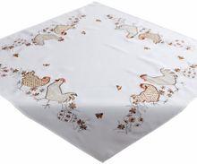 Tischdecke Tischwäsche Henne & Hahn beige / braun gestickt 85x85 cm