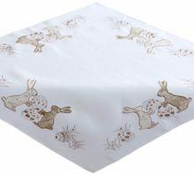 Tischdecke Tischwäsche Osterhasen beige / braun gestickt 110x110 cm