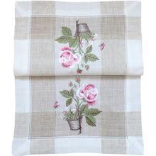 Tischläufer Tischwäsche Rosen rosa mediterran Leinenoptik beige 35x70 cm