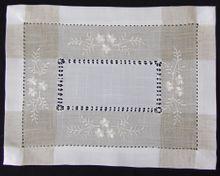 Tischläufer Tischwäsche Blumen Stickerei & Hohlsaum weiß / beige 30x40 cm